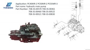 new construction equipment parts 708-3S-04570 708-3S-00461 708-3S-00460 708-3S-00522 708-3S-00521  708-3S-00830 hydraulic piston pump assembly PC40MR-2 PC50MR-2 PC55MR-3 excavator main pump without solenoid suitable for KOMATSU, RMB17300, OR NEW KOMATSU