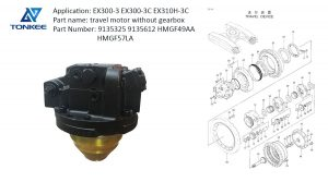 construction equipment parts 9135325 9135612 travel device EX300-3 EX300-3C EX310H-3C HMGF49AA HMGF57LA travel motor without gearbox suitable for HITACHI rebuild new